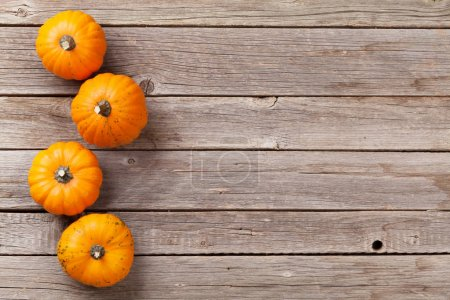 Autumn pumpkins on wooden boards