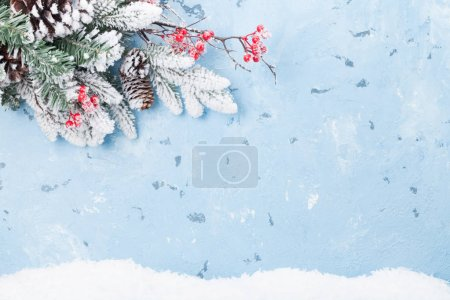 Background with fir tree branch and berries