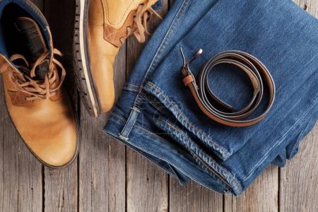Jeans, shoes, belt