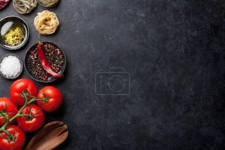 Cooking utensils and tomatoes