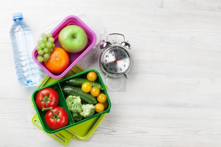 boxes with vegetables and fruits