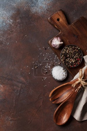 Photo for Vintage kitchen utensils and spices over cutting board. Cooking concept. Top view with space for your text - Royalty Free Image