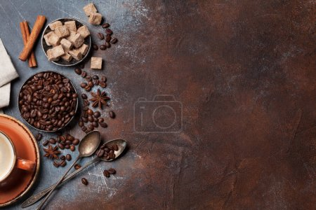 Photo for Coffee cup, beans and sugar. Top view with space for your text - Royalty Free Image