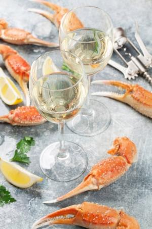 Seafood. Oysters, lobster, clams and white wine