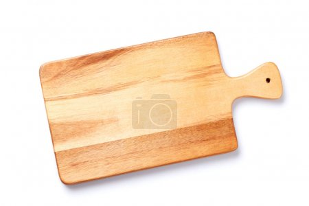 Photo for Wooden cutting board isolated on white background. Top view - Royalty Free Image