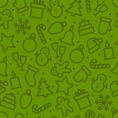 Vector illustration design of Christmas icons set seamless pattern on green background