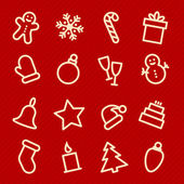 Vector illustration design of Christmas icons set seamless pattern on red background