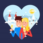 The concept of traveling couple spending their honeymoon on a winter resort and making selfie behind the sea sunset for sharing pictures with friends and family Vector illustration