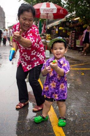 The Songkran festival in  Bangkok, Thailand.