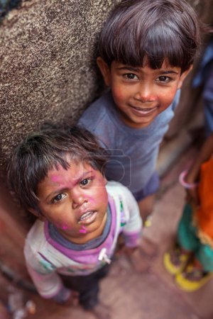 indian children during Holi celebration