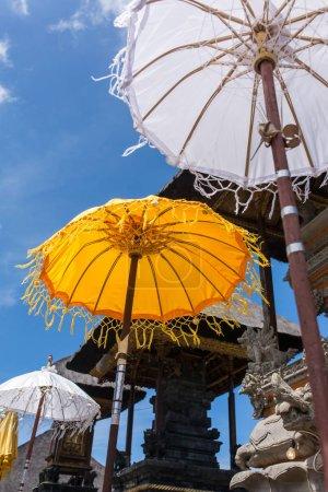umbrellas in temple, Bali, Indonesia