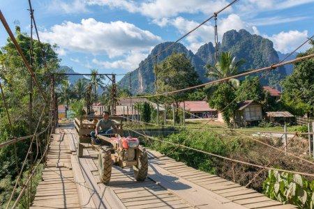 Wooden bridge across Nam Song River