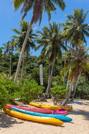 Colorful kayaks on tropical beach,