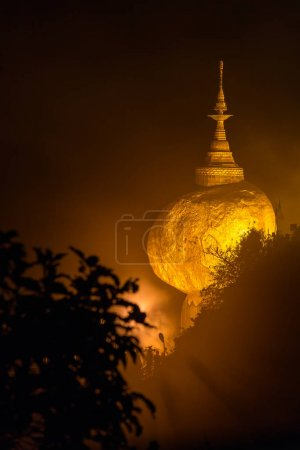 Kyaikhtiyo or Kyaiktiyo pagoda, Golden rock in Myanmar.