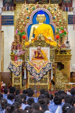 Dharamsala, India - June 6, 2017: His Holiness the 14 Dalai Lama Tenzin Gyatso gives teachings in his residence in Dharamsala, India.