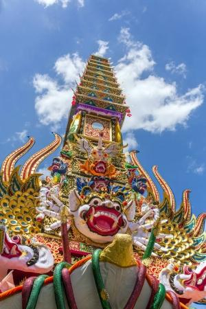 Detail of the balinese cremation tower during ceremony of cremation - Ngaben in Ubud, Bali, Indonesia.