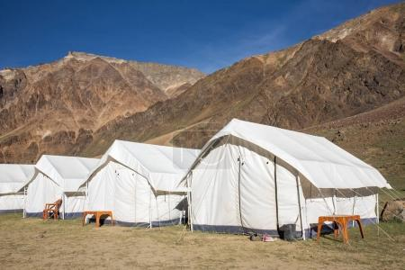 Sarchu camping tents at the Leh - Manali Highway in Ladakh region, Northern India.