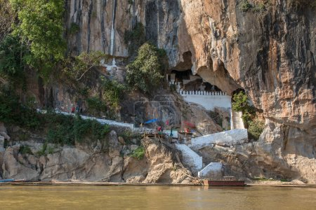 Famous Pak Ou Cave and Mekong river in Laos