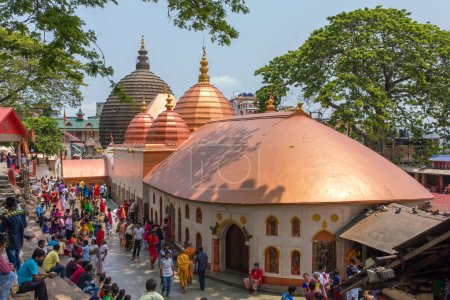 Guwahati, India - May 7, 2017: Top view of the Kamakhya Mandir temple in Guwahati, Assam state, North East India