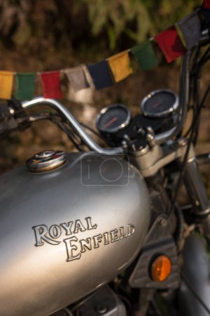 Meghalaya, India - May 8, 2017: Legendary Royal Enfield Thunderbird motorbike. Close-up view at a fuel tank with a motorcycle logo.