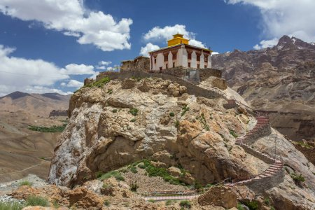 Beautiful Ladakh landscape with a Buddhist monastery and green valley in Mulbek, Jammu and Kashmir state, India