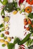 """Постер, картина, фотообои """"Кадр из органических овощей на белом"""""""