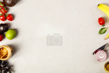 Photo for Healthy ingredients on grey concrete background. Flat lay top view. Copyspace - Royalty Free Image