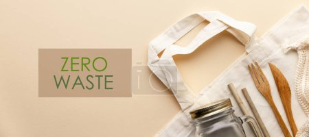 Photo for Zero waste concept. Cotton bag, bamboo cultery, glass jar, bamboo toothbrushes, hairbrush and straws on color background, flat lay, copyspace. Plastic free. Sustainable lifestyle concept. - Royalty Free Image