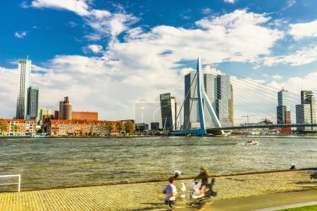 General view of Rotterdam city landscape and Erasmus bridge one of the most famous symbols of the city.
