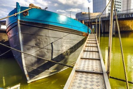 Old boat on the dock of Rotterdam.