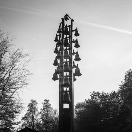 LISSE, NETHERLANDS - MAY 20, 2017: Famous city sculpture close-up black-white photo. on May 20 in Lisse, Netherlands.