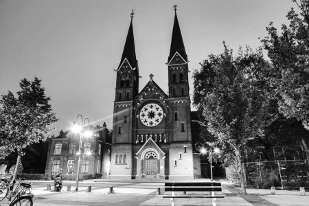 AMSTERDAM, NETHERLANDS - MAY 20, 2017: General landscape views in traditional Dutch church at night time. Black-white photo. May 20, 2017 in Amsterdam, Netherlands.