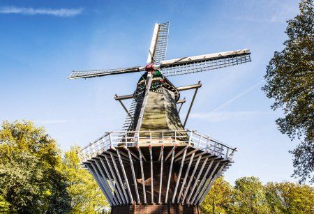 AMSTERDAM, NETHERLANDS - MAY 25, 2017: General view of Zanes-Schans is an open-air museum in the Netherlands. On the territory of the museum are Dutch architecture of XVII-XVIII, including windmills.