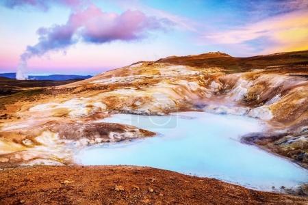 Photo pour Lacs volcaniques d'Islande. Paysage panoramique au coucher du soleil . - image libre de droit
