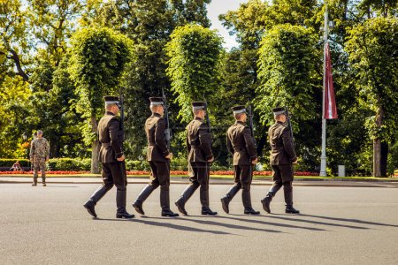 RIGA, LATVIA - AUGUST 27, 2017: Guard of honor in Riga. Riga, Latvia - August 27.
