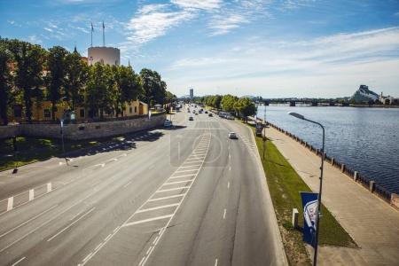 Old bridge in the European city of Riga.