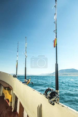 Fishing rods on boat.