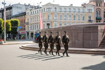 RIGA, LATVIA - AUGUST 27, 2017: Guard of honor in Riga. Riga, Latvia - August 27.