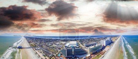 Sunset time over Daytona Beach, aerial view