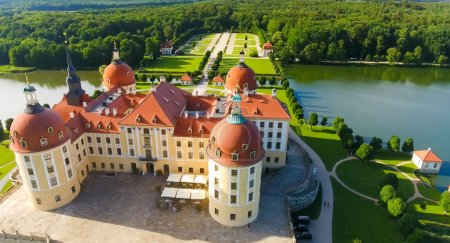 Moritzburg Castle from the air, Saxony - Germany