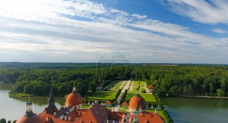 Aerial view of Moritzburg Castle in Saxony - Germany