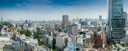 TOKYO - MAY 23, 2016: Panoramic view of city skyline from roofto