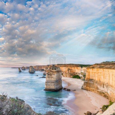 Twelve Apostles at sunrise, amazing natural landscape of Great O