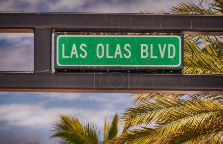 Las Olas Boulevard street sign in Fort Lauderdale, Florida