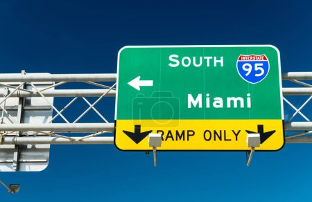 Miami interstate sign against blue sky