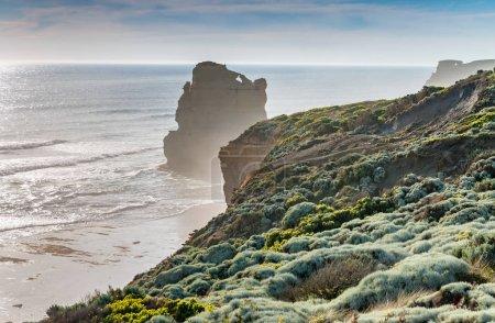 The Twelve Apostles Rocks on the ocean, Great Ocean Road at suns