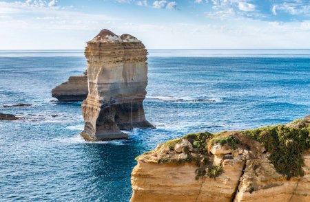 Limestone rocks over the ocean, Great Ocean Road, Australia