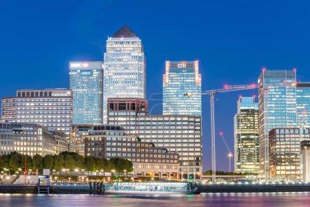 LONDON - SEPTEMBER 25, 2016: Canary Wharf buildings along river