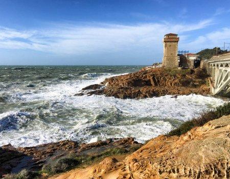 Sea storm in Calafuria, Leghorn. Tuscany coast