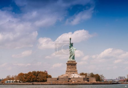 The Statue of Liberty from ferry boat, New York, USA
